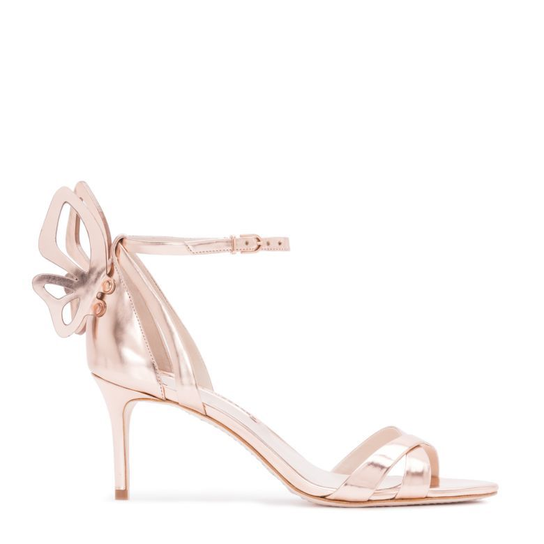 80f7a67d891 Introducing the sleek Madame Chiara mid sandal in rose gold leather with a  cross front strap and finished with a laser cut Butterfly wing.