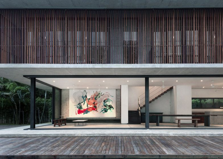 Slatted timber screens shade poolside residence in Thailand by ...
