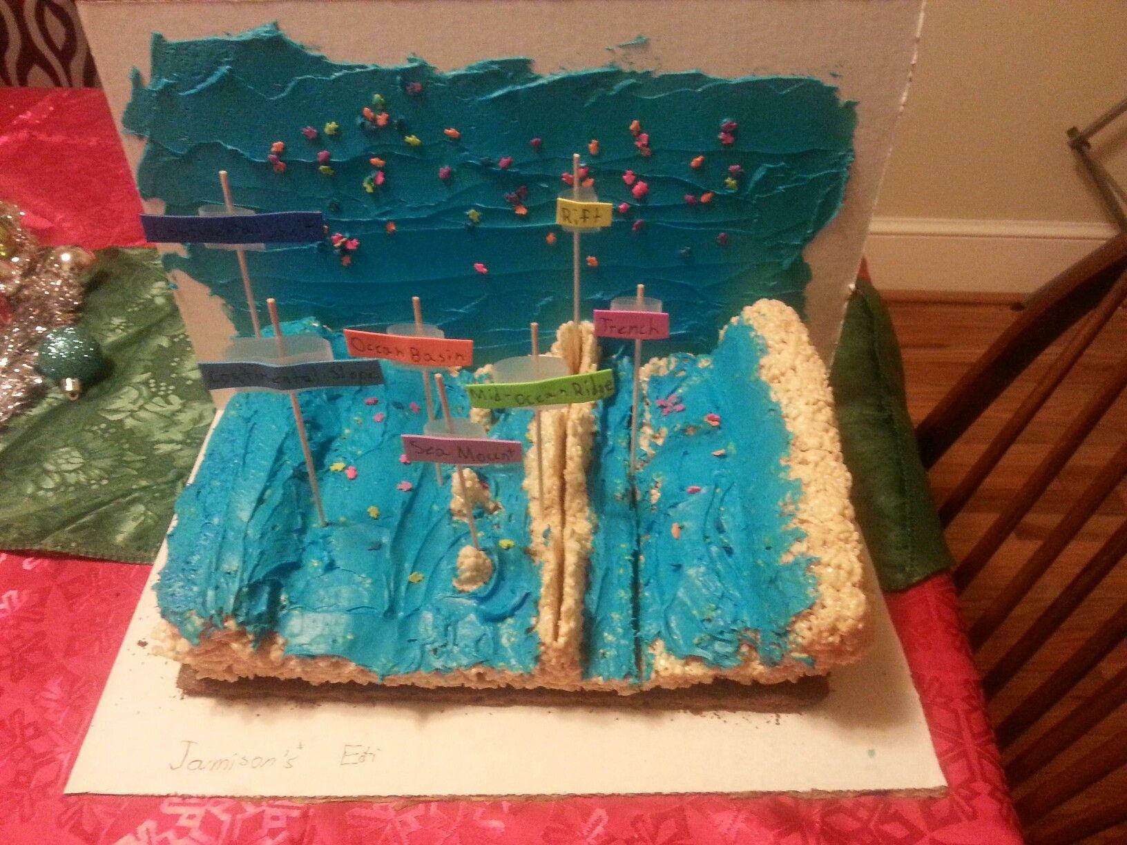 Edible Ocean Floor Project Brownies Rice Kryspie Treat Blue