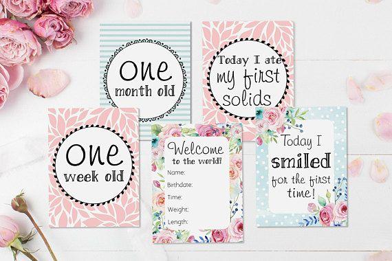 5843dc1aef569 Baby Girl Milestone Cards - Shabby Chic Baby Girl Gift Idea ...