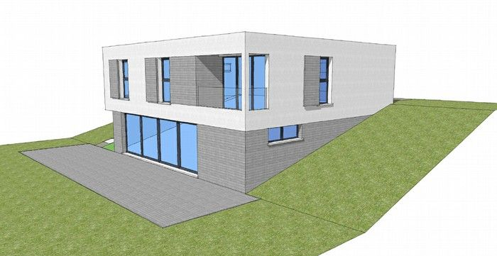 photo maison contemporaine sur terrain en pente plans maison - amenagement terrain en pente maison