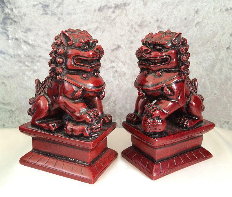 Vintage True Pair Chinese Red Black Rosewood Foo Dog Guardian Lion