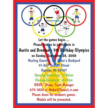 Favori olympic invitations, sports invitation, olympic rings invitation  FM78