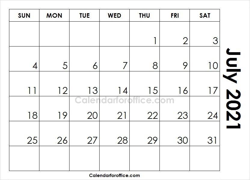 Printable Blank Calendar July 2021 Calendar Template 2021 Calendar Calendar Printables