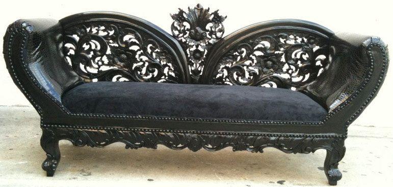 Black on Black Wooded Frame French Chaise Lounge Sofa Vintage Hollywood Regency Glamor Loveseat Queen Throne Modern Accents.| www.bocadolobo.com/ #sofasideas #livingroomfurniture