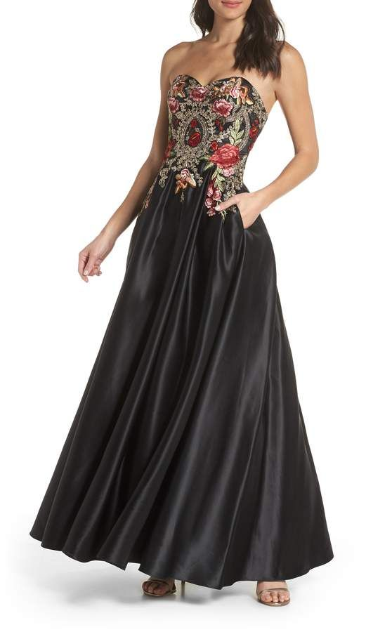 56c718bf1e Blondie Nites Embroidered Applique Strapless Ballgown