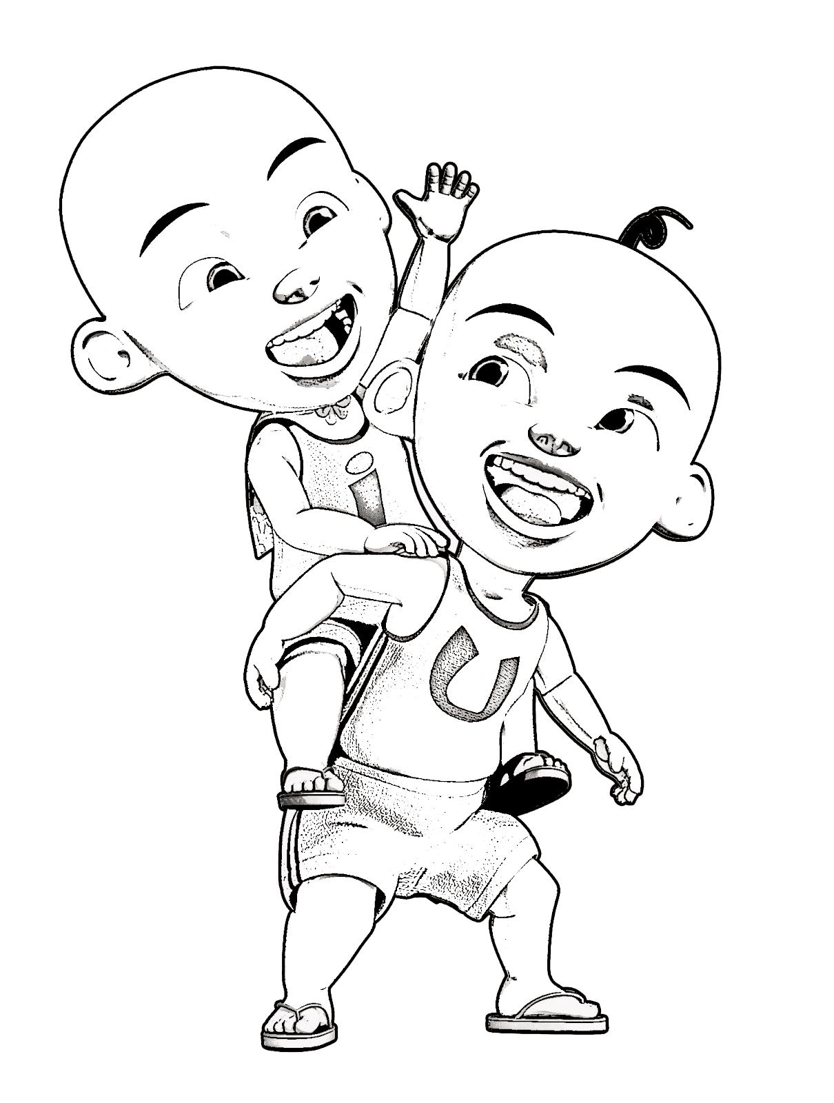 32 Gambar Kartun Upin Dan Ipin Hitam Putih Gambar Kartun Di 2020 Buku Mewarnai Kartun Gambar