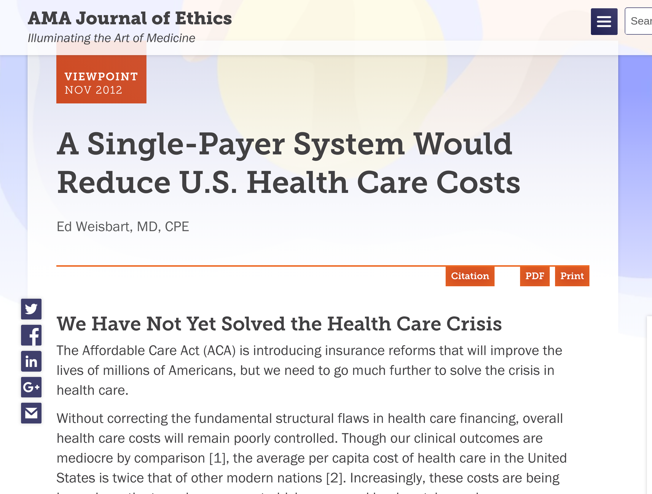 In 2012 The Ama Journal Of Ethics Endorses The Single Payer