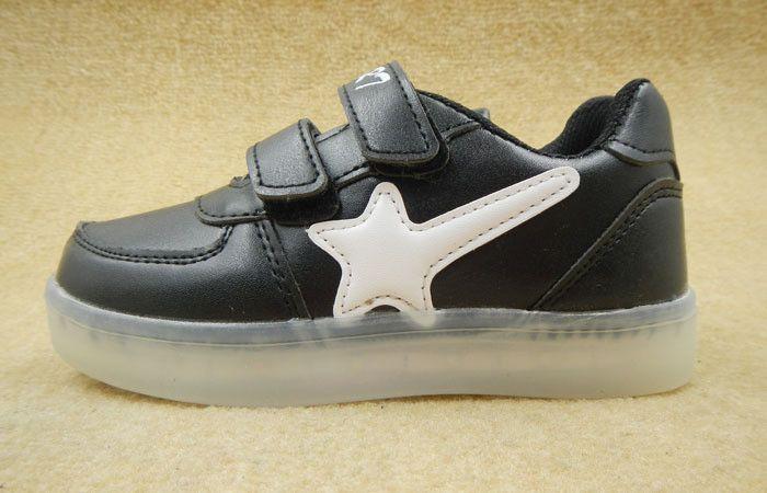 MD Kids LED Shoes Star(Black&White&Red)