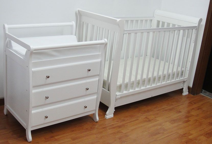 3 In 1 Wooden Baby Cot In White With Changing Table Baby