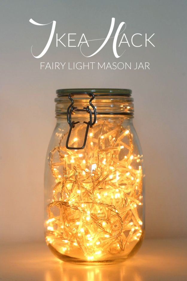 Ikea Hack Fairy Light Mason Jar Daydream In Blue Diy Garden Projects Mason Jar Lighting Mason Jars Room Diy