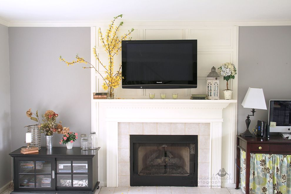 television mounting over the fireplace and how to hide cables rh pinterest com Wall Mount Gas Fireplace Wall Mount Electric Fireplace