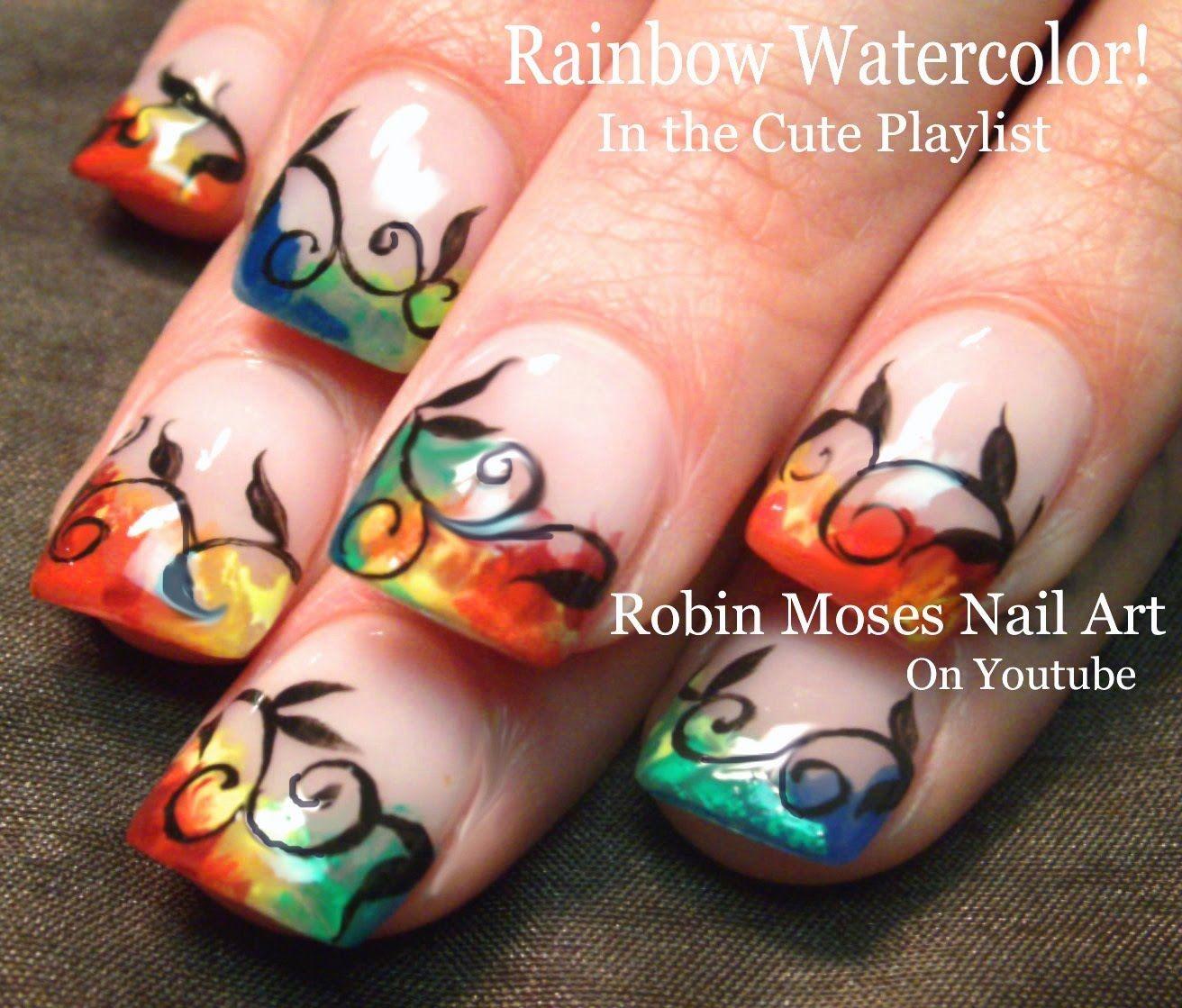 nail art watercolor rainbow nails