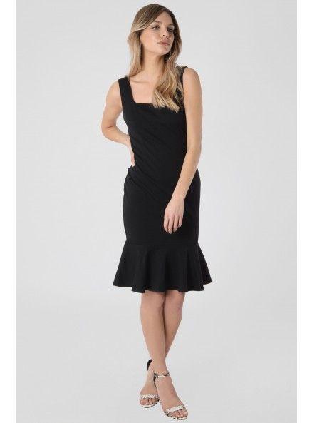Black Bodycon Dress With Flared Hem