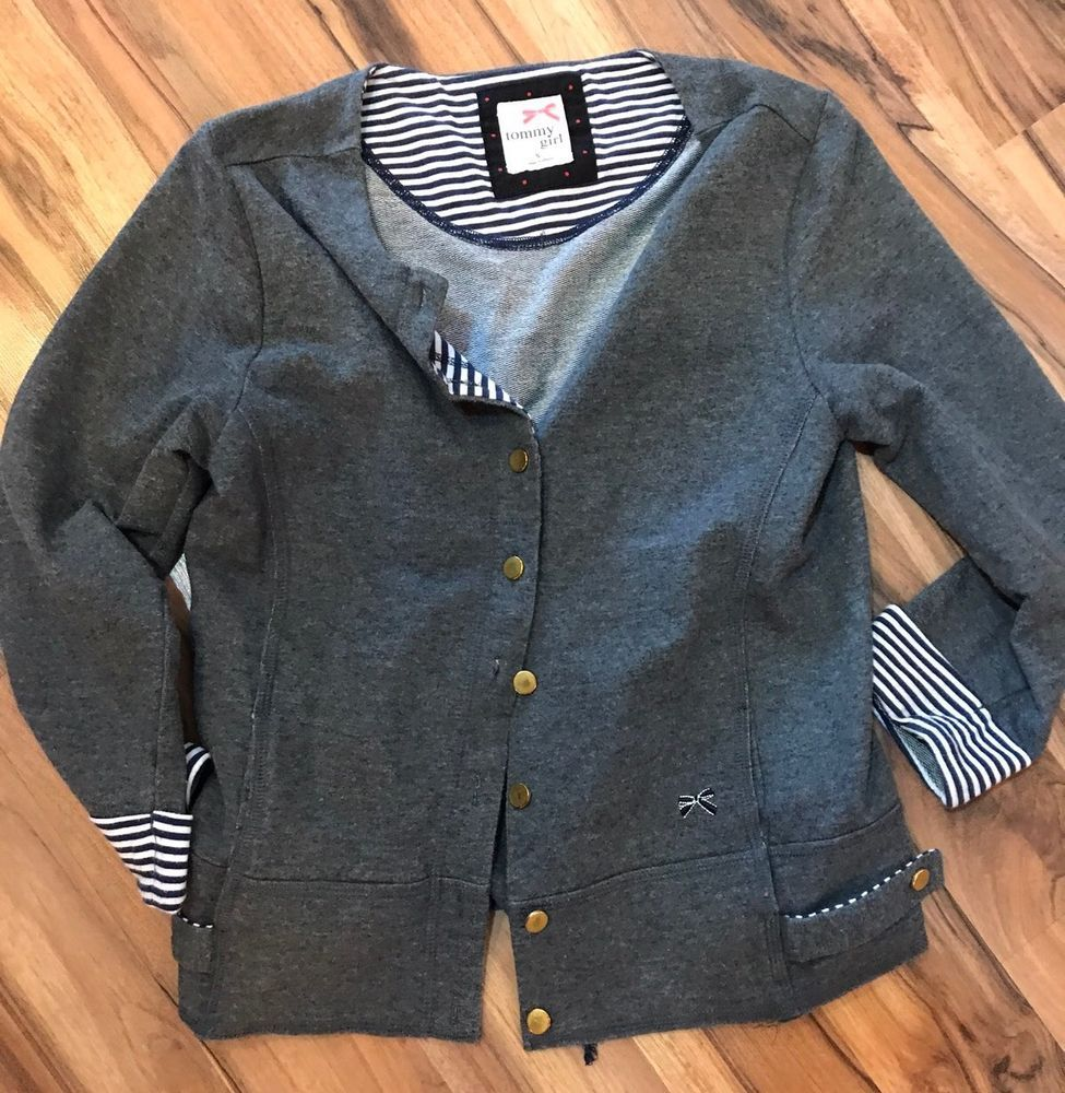 Tommy Girl Gray Gold Button Down Cardigan Sweater Sz S Small Girls ...