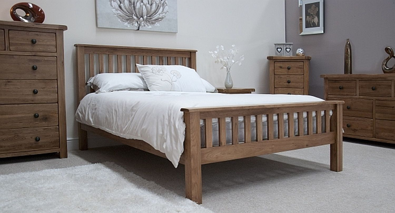 Bedroom Design Tilson Solid Rustic Oak Bedroom Furniture 46 Double Bed Ebay Glubdub