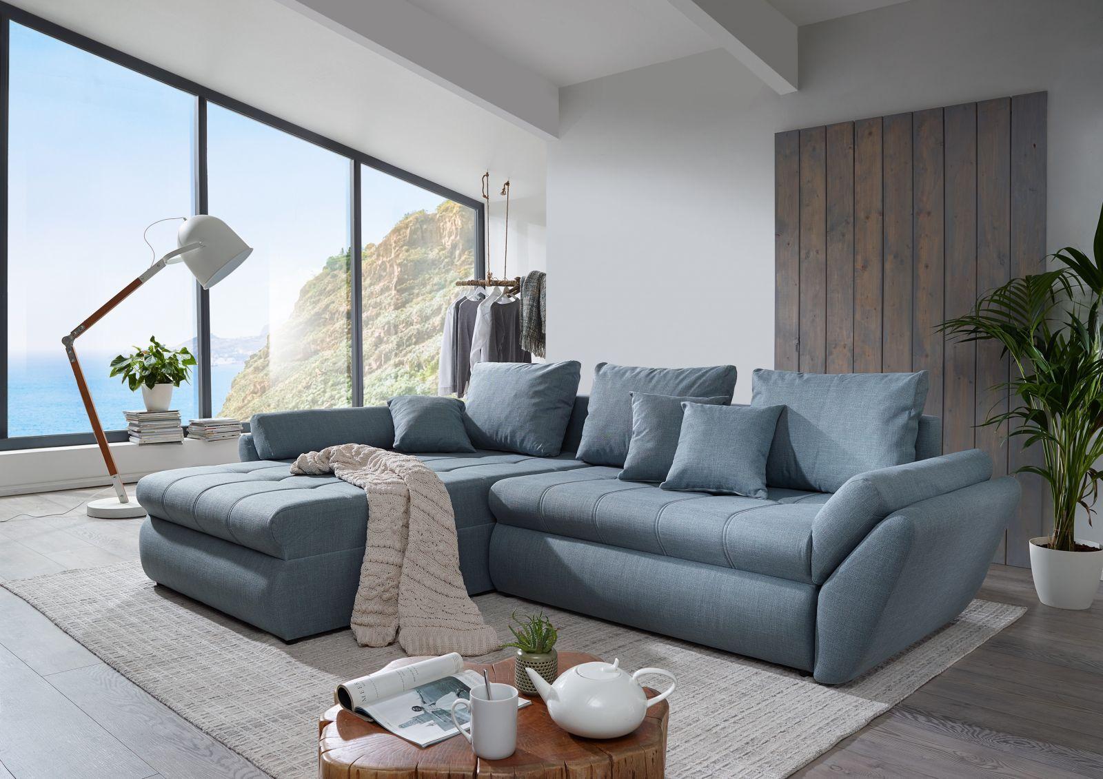 Canape 2 3 Places En Coton Et Lin Gris Ardoise Maisons Du Monde 3 Sitzer Sofa Sofa Couch Mit Schlaffunktion