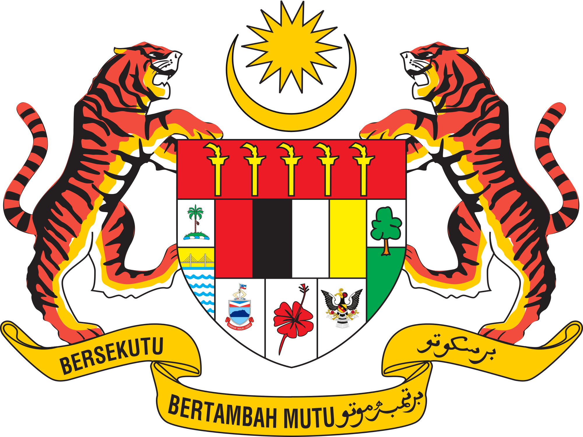 2000px Coat Of Arms Of Malaysia Svg Png 2000 1500 Coat Of Arms Malaysia Vector Logo