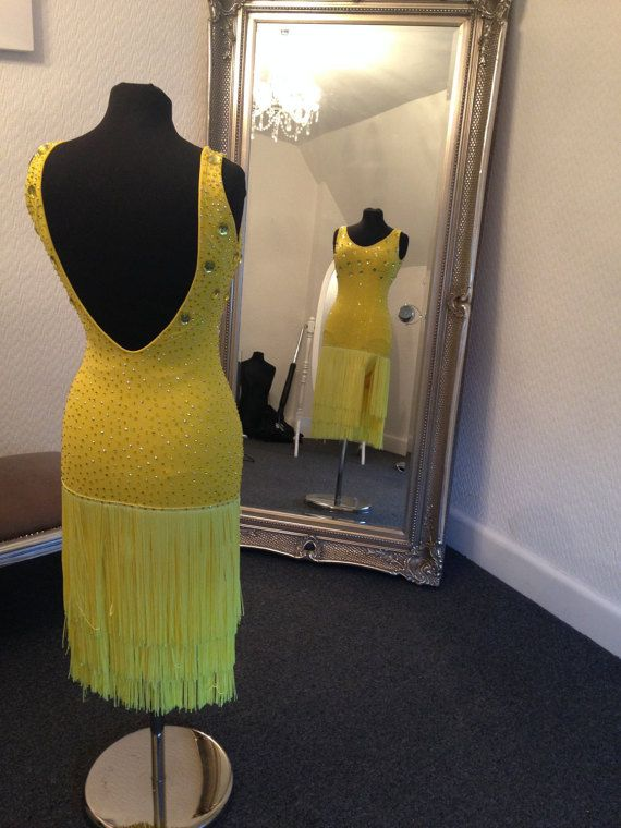 Cara Couture Yellow Fringe Dress by CaraCouture1 on Etsy