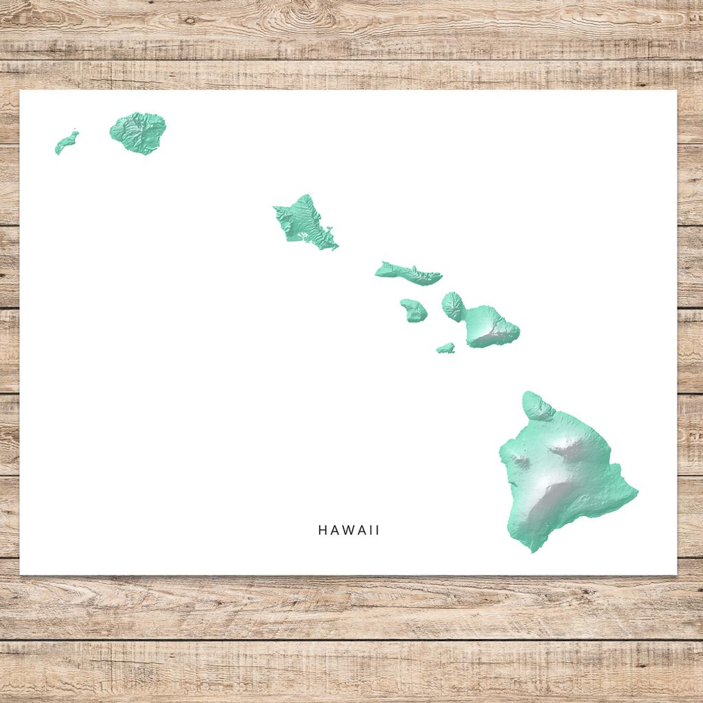 Hawaii Map Print Aqua Landscape Hawaiian Islands Map Map Print Map Art Print