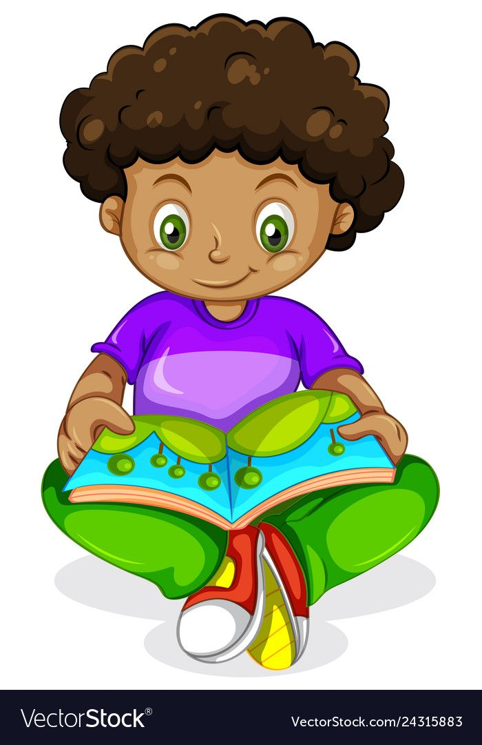 A Black African Boy Reading Book Illustration Download A Free Preview Or High Quality Adobe Illustrator Ai Ep Reading Books Illustration Kids Clipart Cartoon