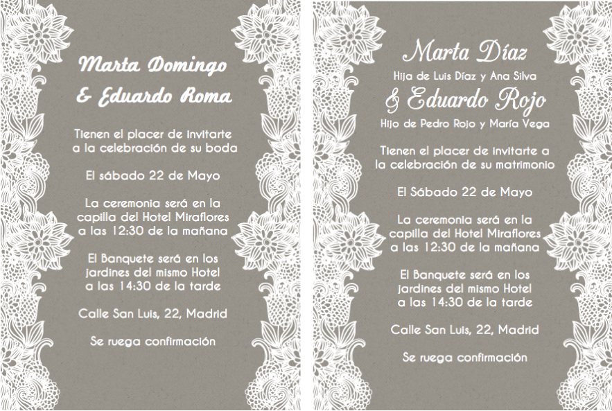 Pin De Mariana Gutierrez En Vintage Wedding Invitations