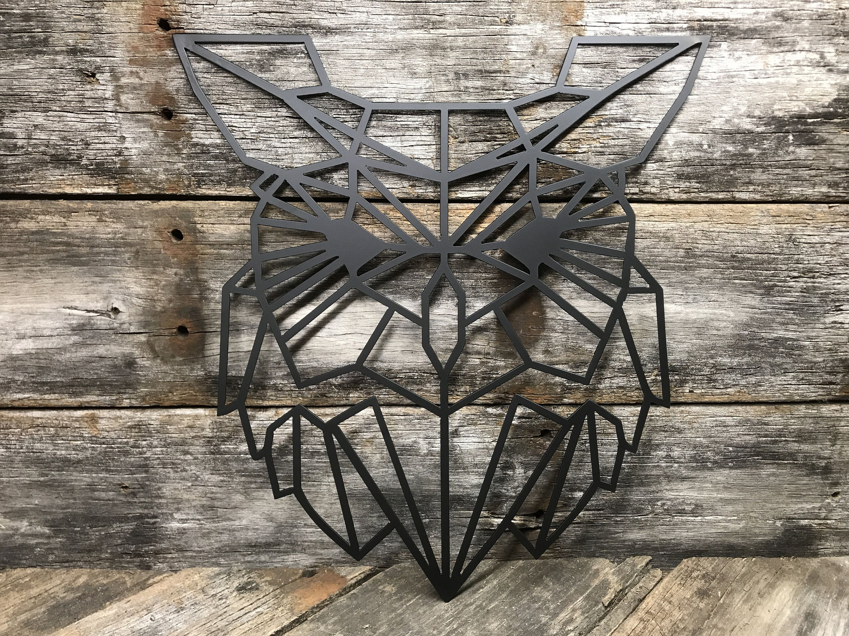 Geometric owl metal wall decor metal sign metal metal