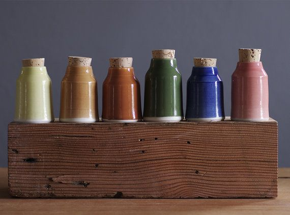 SALE small bottle set  small pottery bottles or by vitrifiedstudio, $100.00