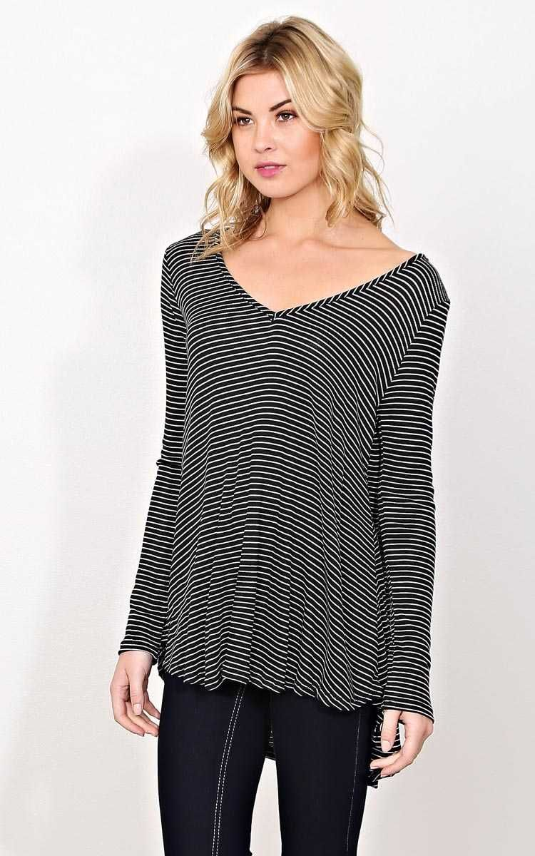 #FashionVault #styles for less #Women #Tops - Check this : Striped Chill Knit Top - MED - Black/White in Size Medium by Styles For Less for $19.99 USD