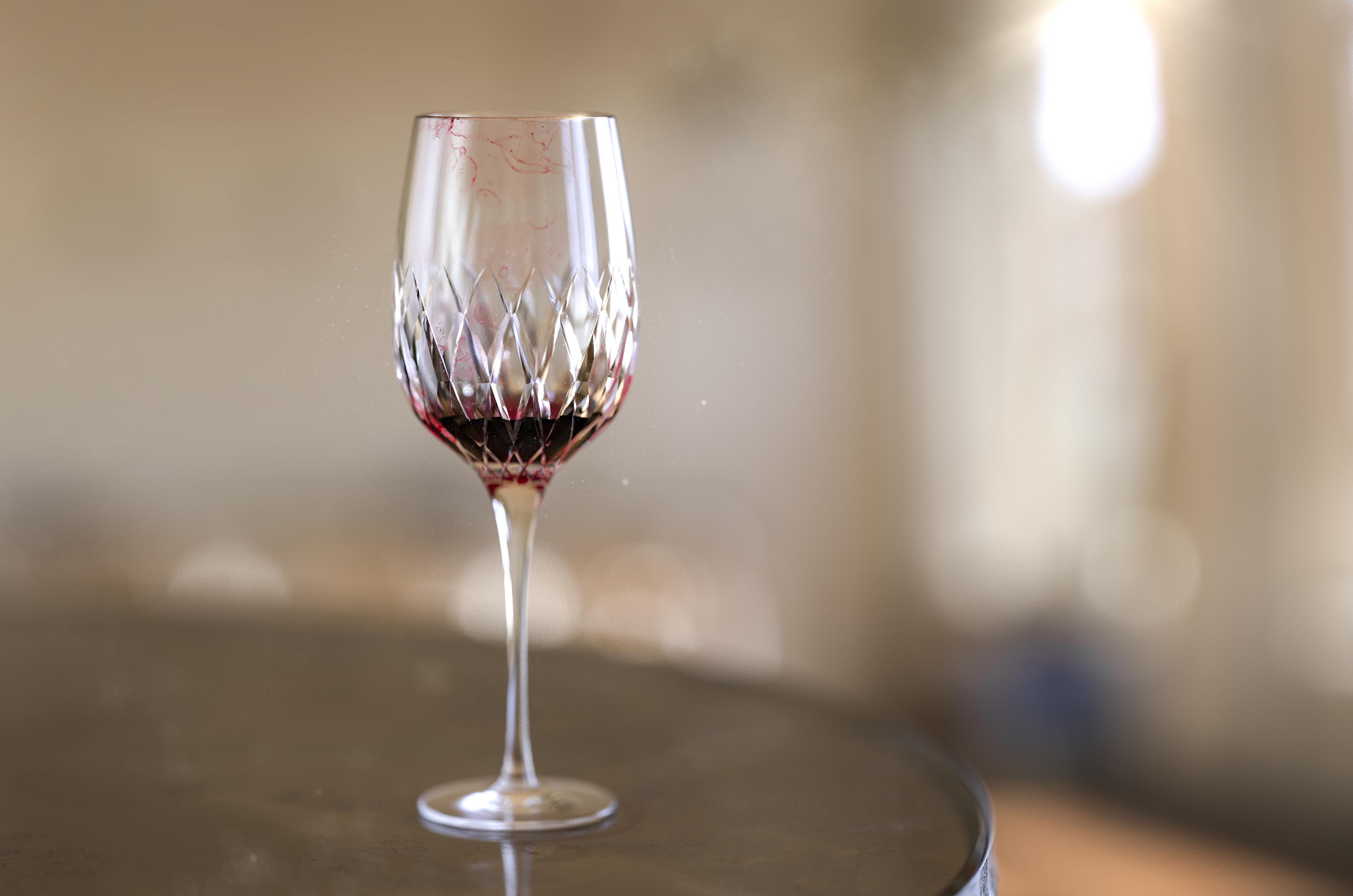 Wine glass rendered in KeyShot by Magnus Skogsfjord