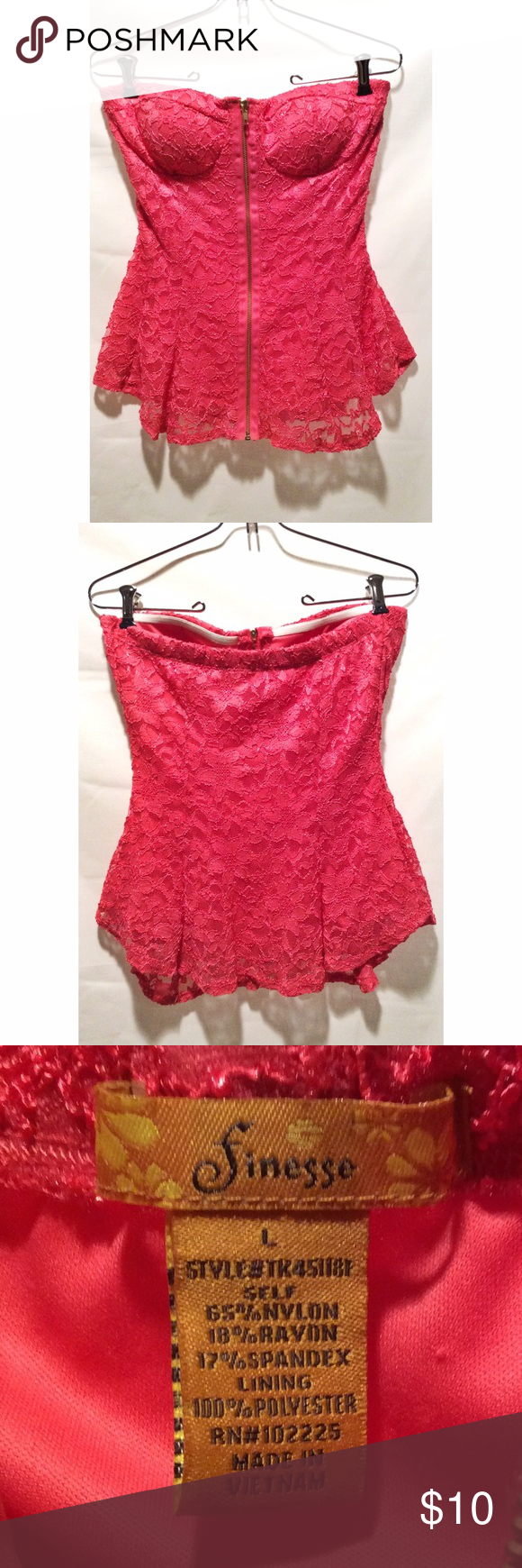 Fuchsia lace zip up tube top Tube top with single zipper in front.  Padded bra built in.  Size L. Tops Blouses