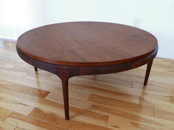 RESERVED for Kate MidCentury Round Walnut Coffee Table