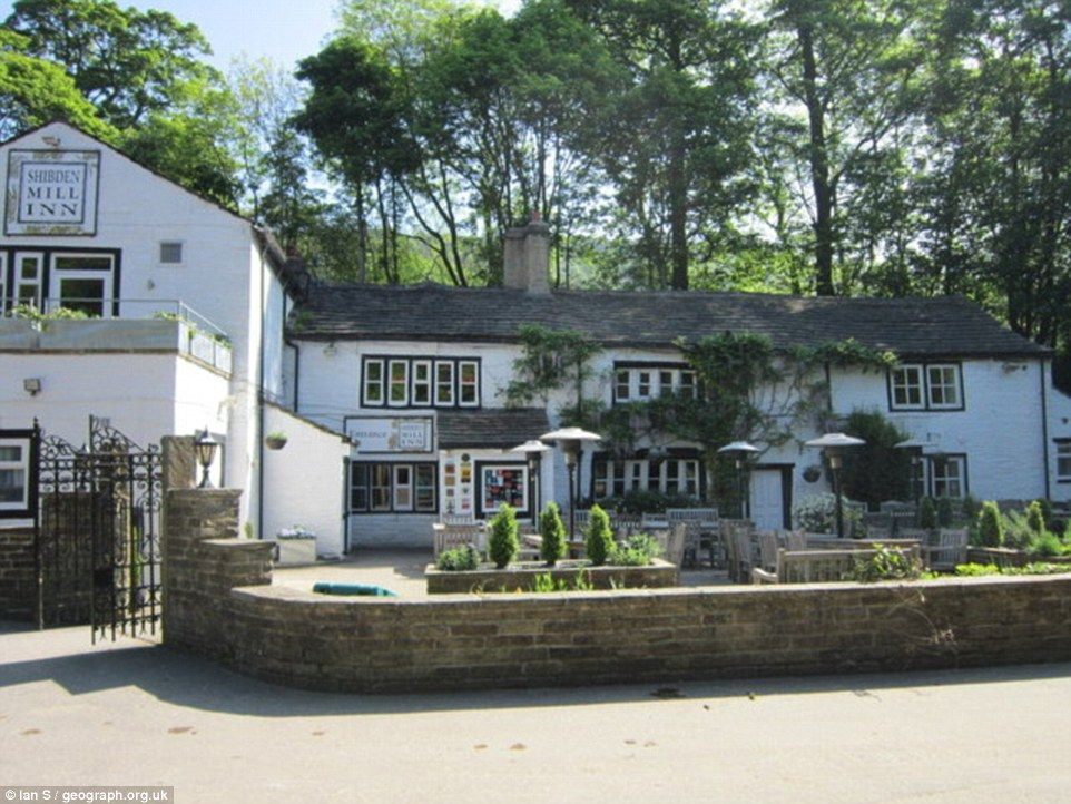 The Shibden Mill Inn, Shibden , Halifax, Yorkshire - The rambling and beautifully renovated old corn mill is hidden in a tranquil wooded valley overlooking Red Beck, just minutes from the hustle and bustle of Halifax. At night, the peaceful stream-side terrace is floodlit and heated, for idyllic summer drinking.