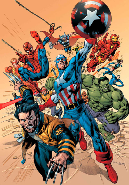 Aqui muestran los super heroes de la vieja escuela, ya que antes solo existian unos pocos super heroes, ya que no se referenciaba tanto el crimen.