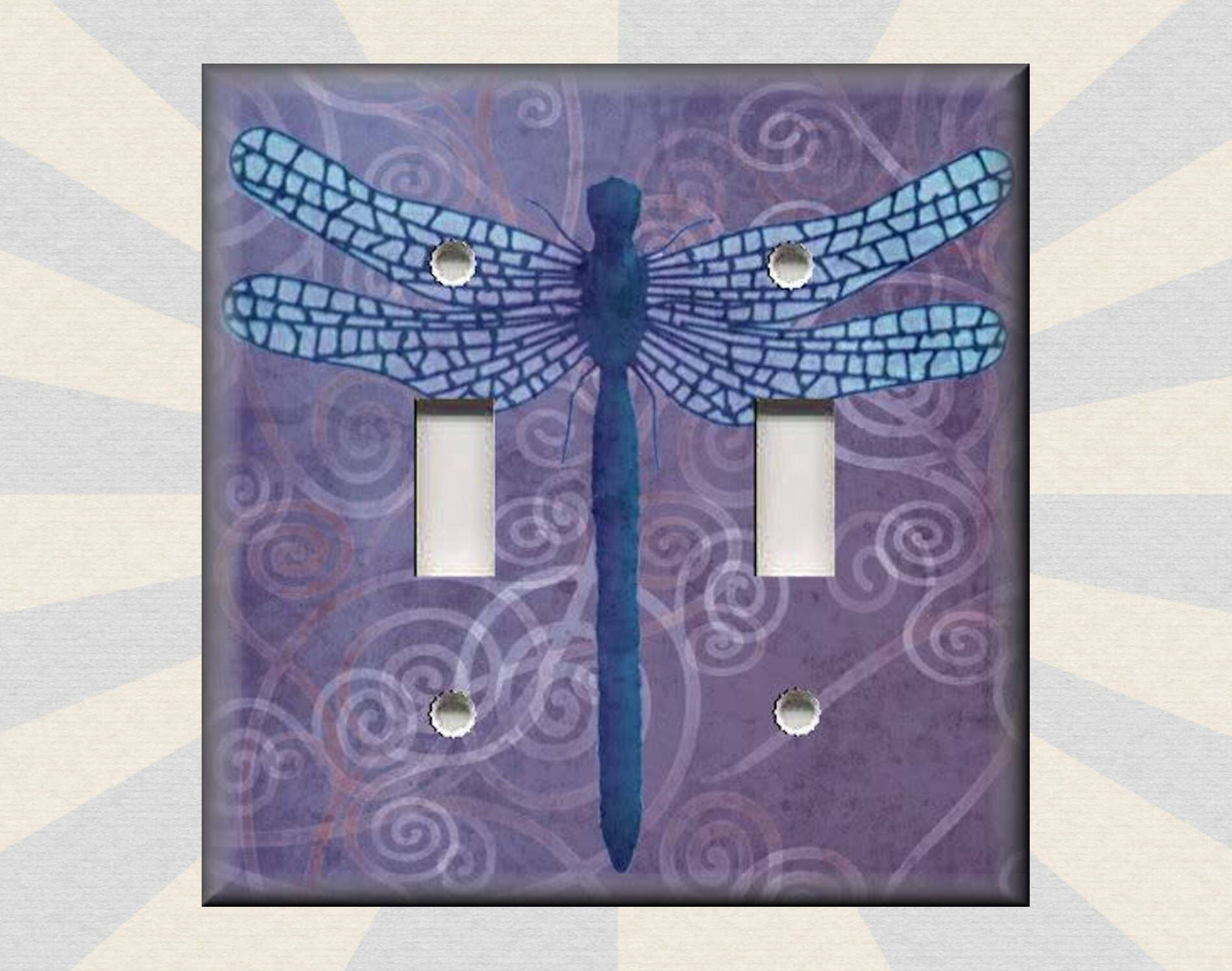 Metal Light Switch Plate Cover Dragonfly Decor Purple Swirl Home