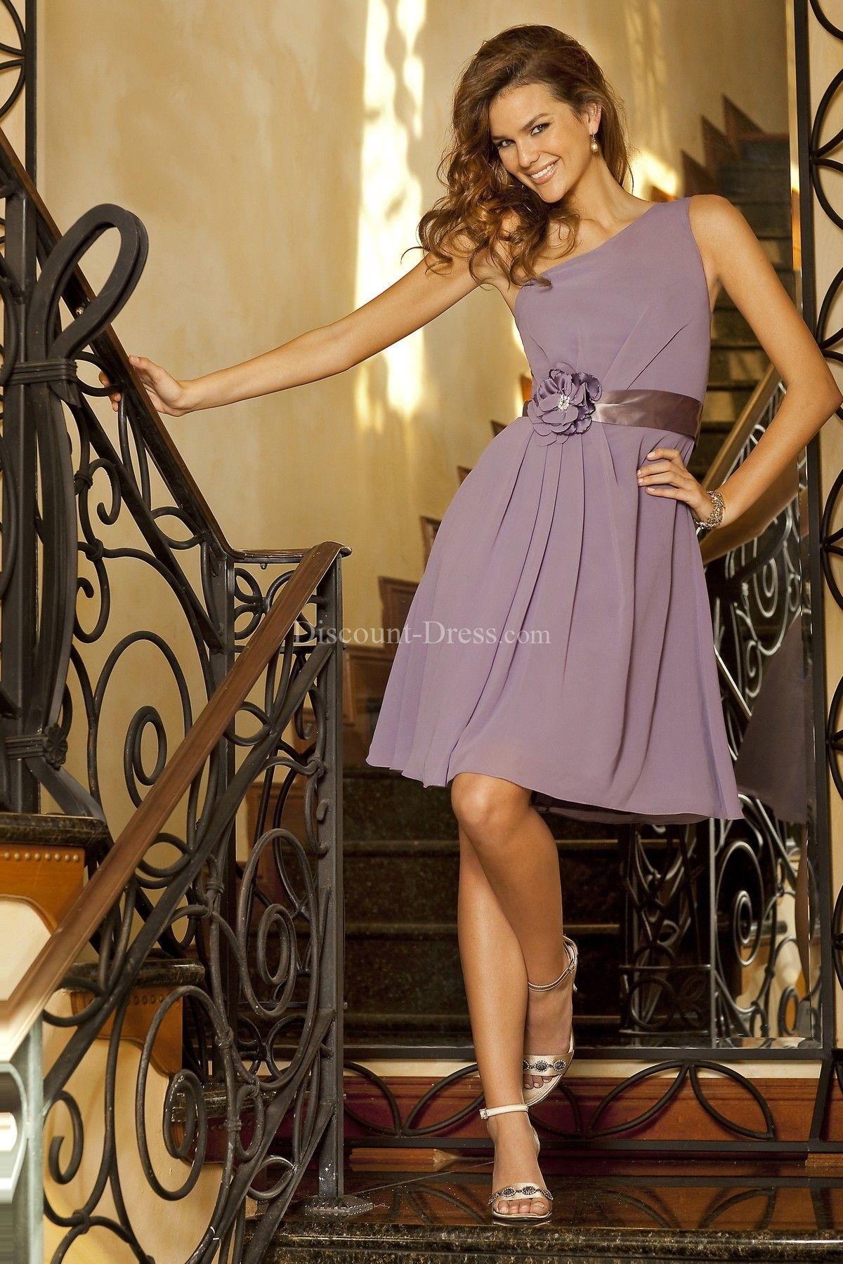 Casual one shoulder aline satin bridesmaid dress with flowers