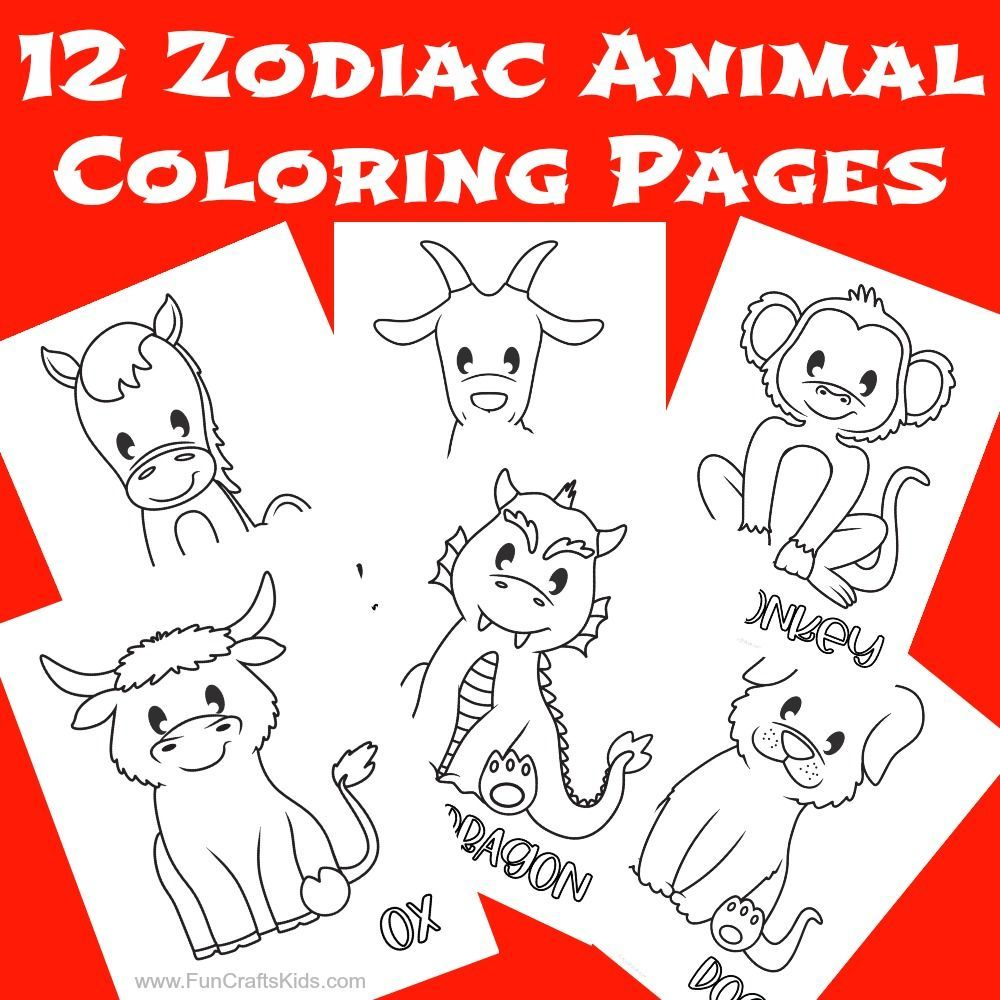 12 Free Printable Chinese Zodiac Coloring Pages Fun Crafts Kids Coloring Pages Chinese New Year Activities Snake Coloring Pages