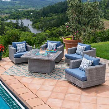 Niko 5 Piece Fire Chat Set In Slate Patio Furniture Collection