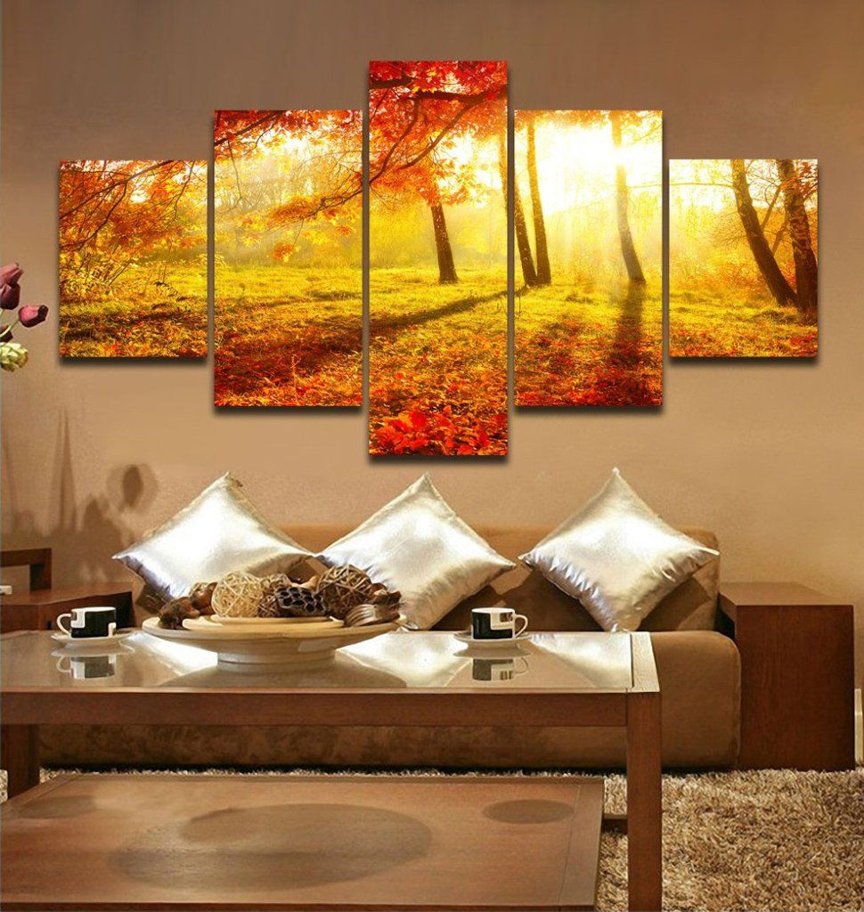 5 panels golden sunrise forest landscape painting canvas printing