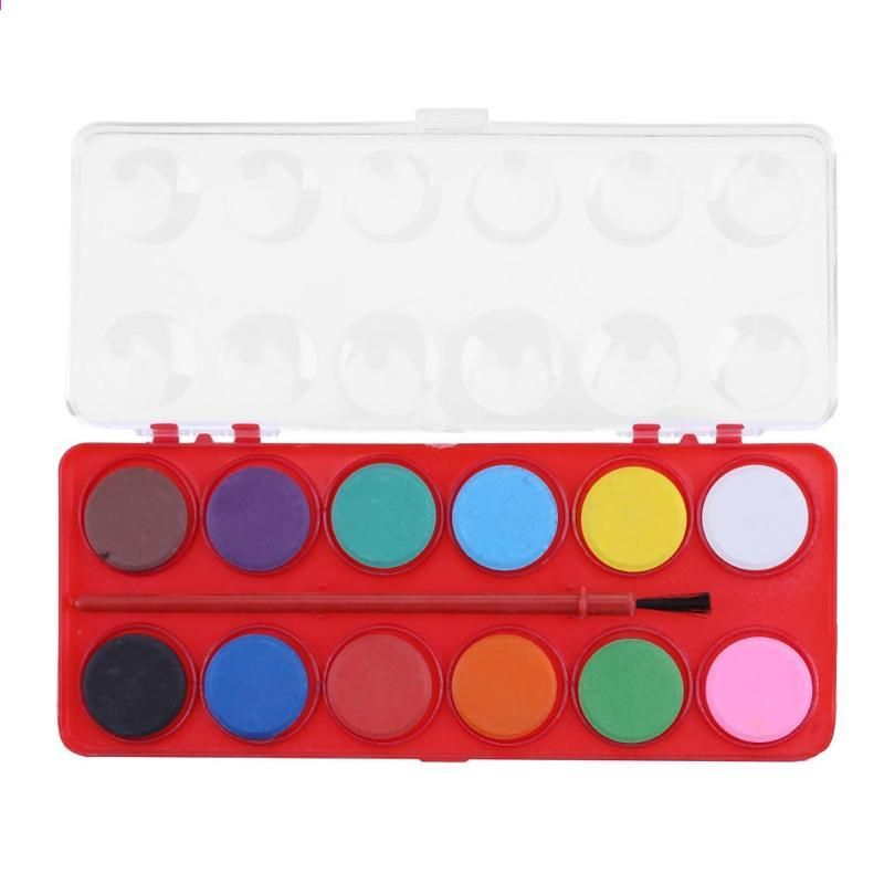 12 Renkler Katı Suluboya Boyalar Boya Fırçası Seti Pigmentler Boyama