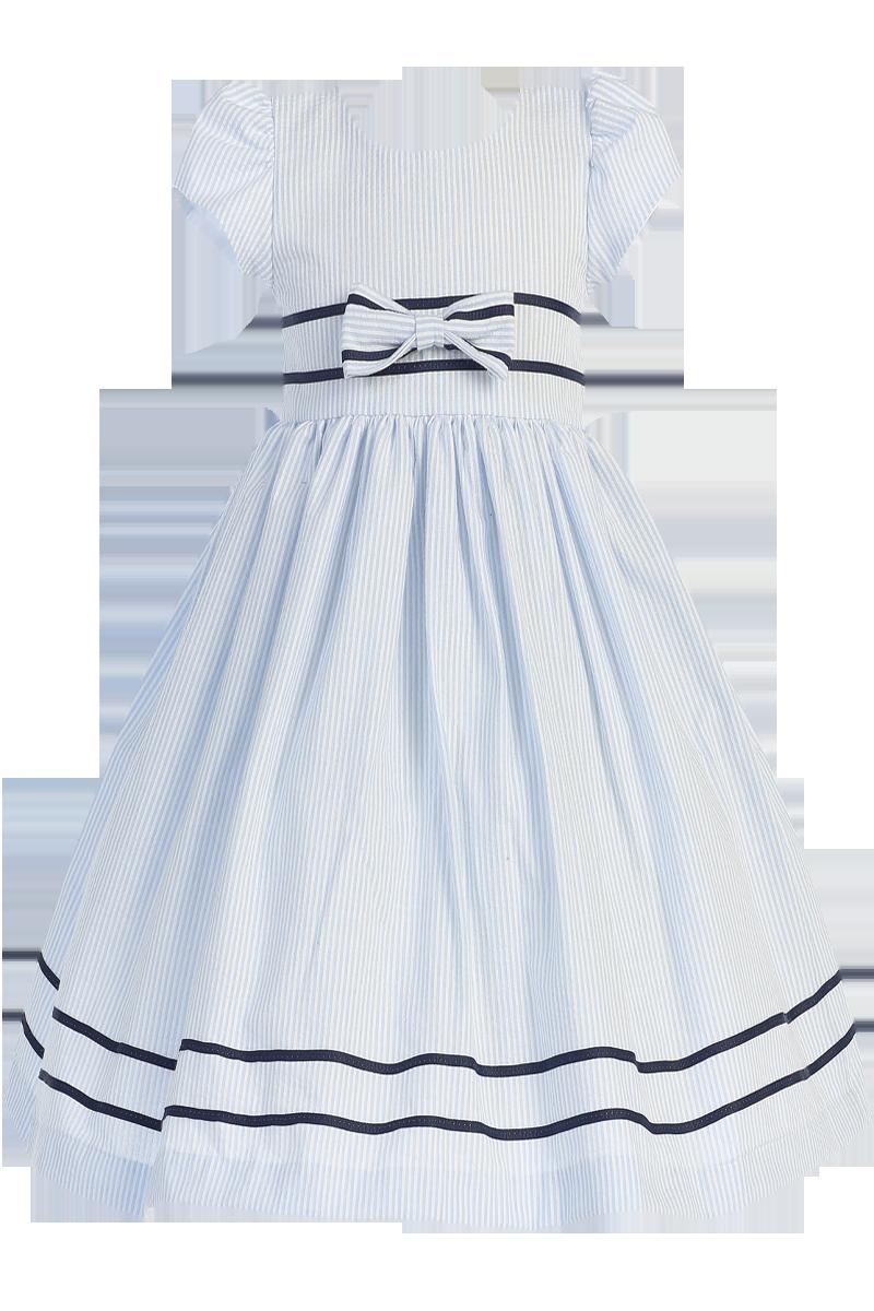 55ec1e6de935 Light Blue Striped Cotton Seersucker Dress with Navy Blue Sash ...