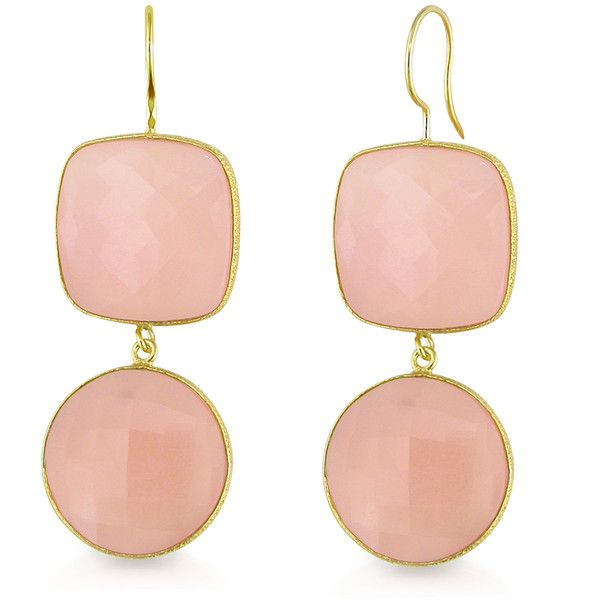 Ice Rose Quartz Gold Plated Earrings ($160) ❤ liked on Polyvore featuring jewelry, earrings, women's accessories, gold plated earrings, hook earrings, gold plated jewelry, round earrings y yellow earrings
