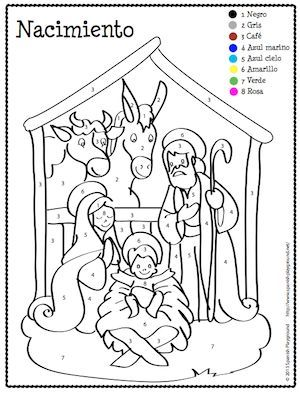 Spanish Christmas Color by Number | Spanish christmas, Spanish ...