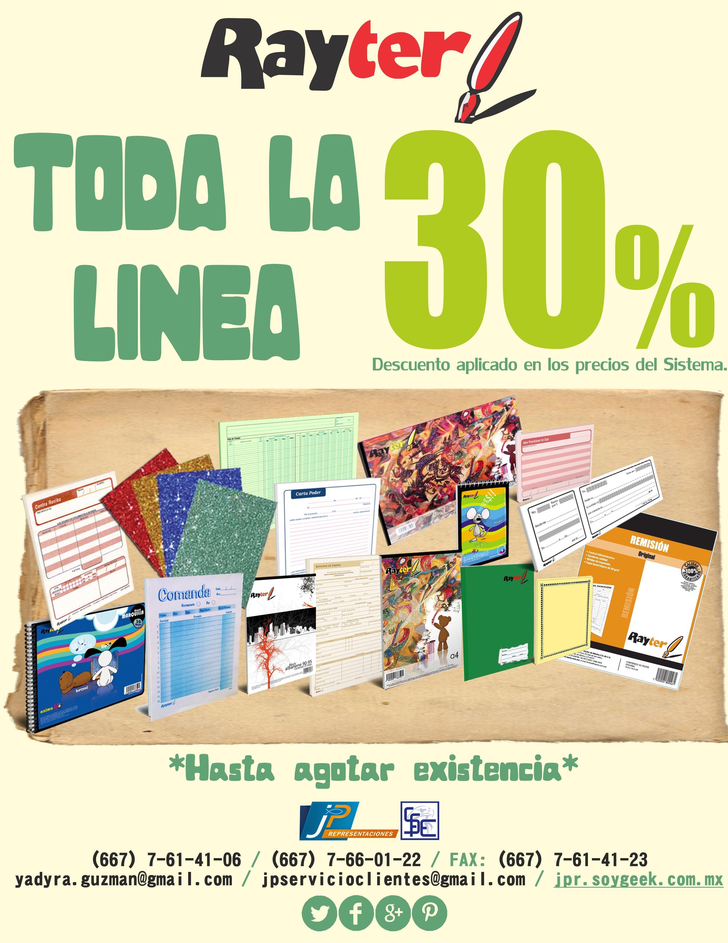 30% en toda la Linea, HASTA AGOTAR EXISTENCIA.  Buenos Dias!!!!!