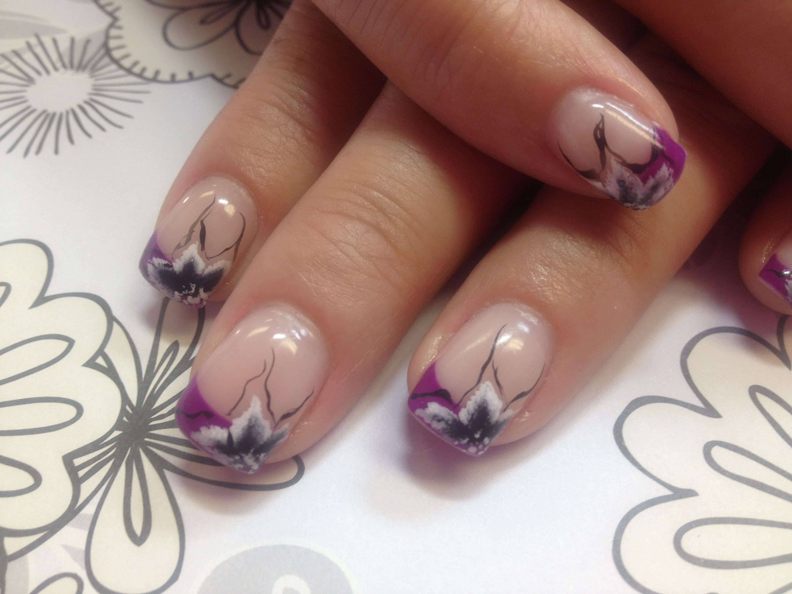 Nude / natural color nails with purple french manicure style tips ...