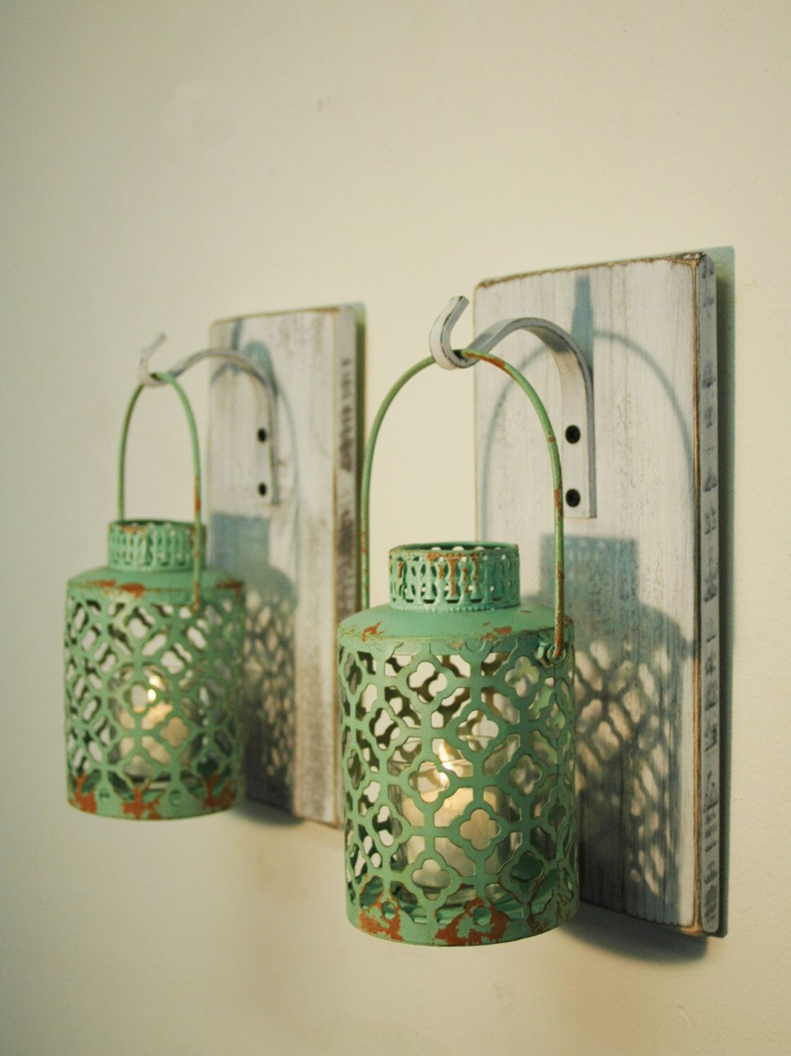 Shabby Chic Turquoise Lantern Pair CANDLES INCLUDED, whitewashed wood, home decor, bedroom decor, lantern wall decor, shabby lantern set by PineknobsAndCrickets on Etsy https://www.etsy.com/listing/224969474/shabby-chic-turquoise-lantern-pair