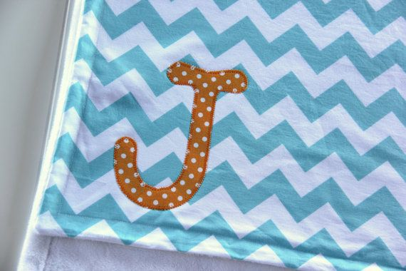 Aqua and Orange Blanket Aqua Chevron Blanket by mylittlemookie, $44.00