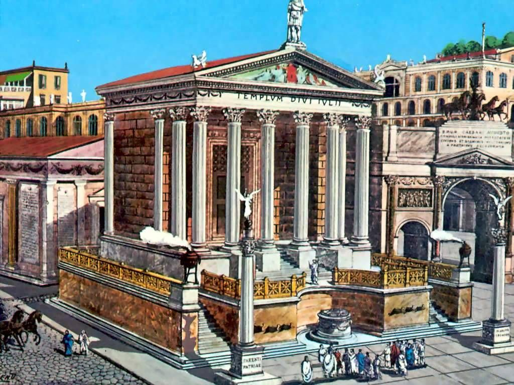 Roman forum reconstruction roman streetscapes for Architecture romane definition