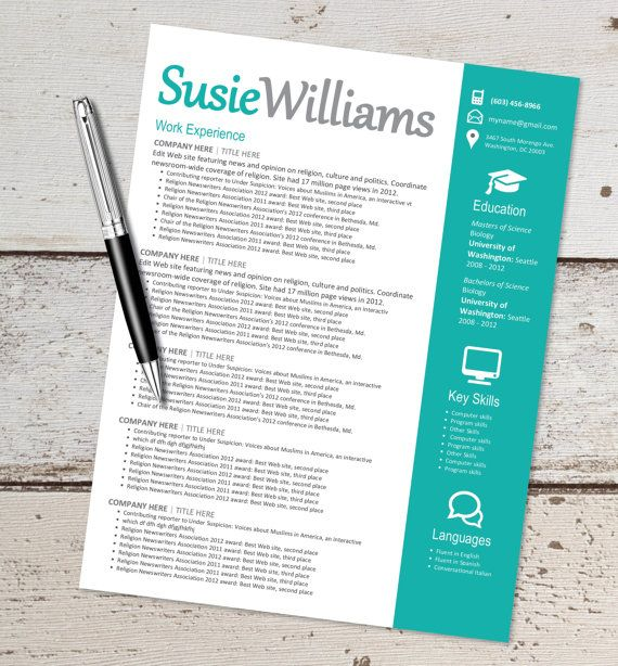 This is for an instant download, Microsoft WORD document editable - resume template fill in