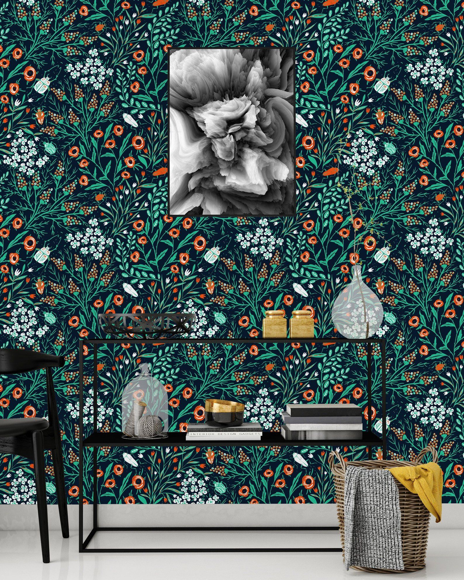 Blooms And Bugs Removable Wallpaper Peel Stick Mural Etsy Peel And Stick Wallpaper Removable Wallpaper Nursery Mural